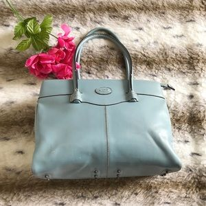 Tod's Made In Italy Blue Vintage Satchel Handbag